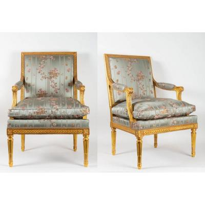 Pair Of Louis XVI Style Armchairs In Golden Wood