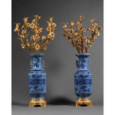 Pair Of Large Chinese Porcelain Vases Mounted Gilt Bronze 19th Century