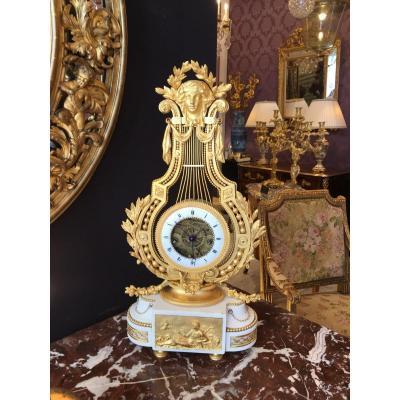 Pendule Lyre D'époque Louis XVI
