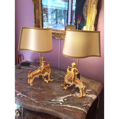 Paire De Lampe En Bronze Doré De Style Louis XV