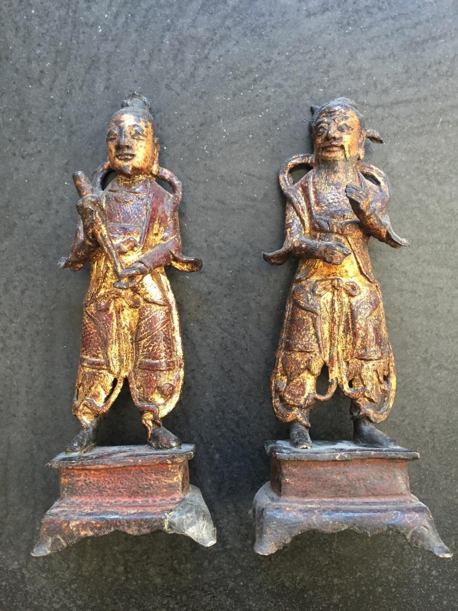 Chine Paire de gardiens en bronze doré époque Ming