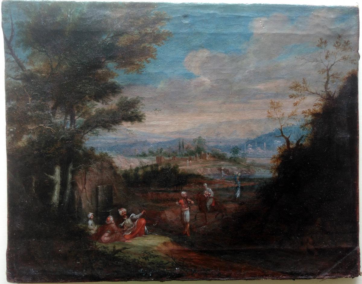 Attribué à Jean-Baptiste VAN MOUR (1671-1737) - Huile Sur Toile Orientaliste Turquie