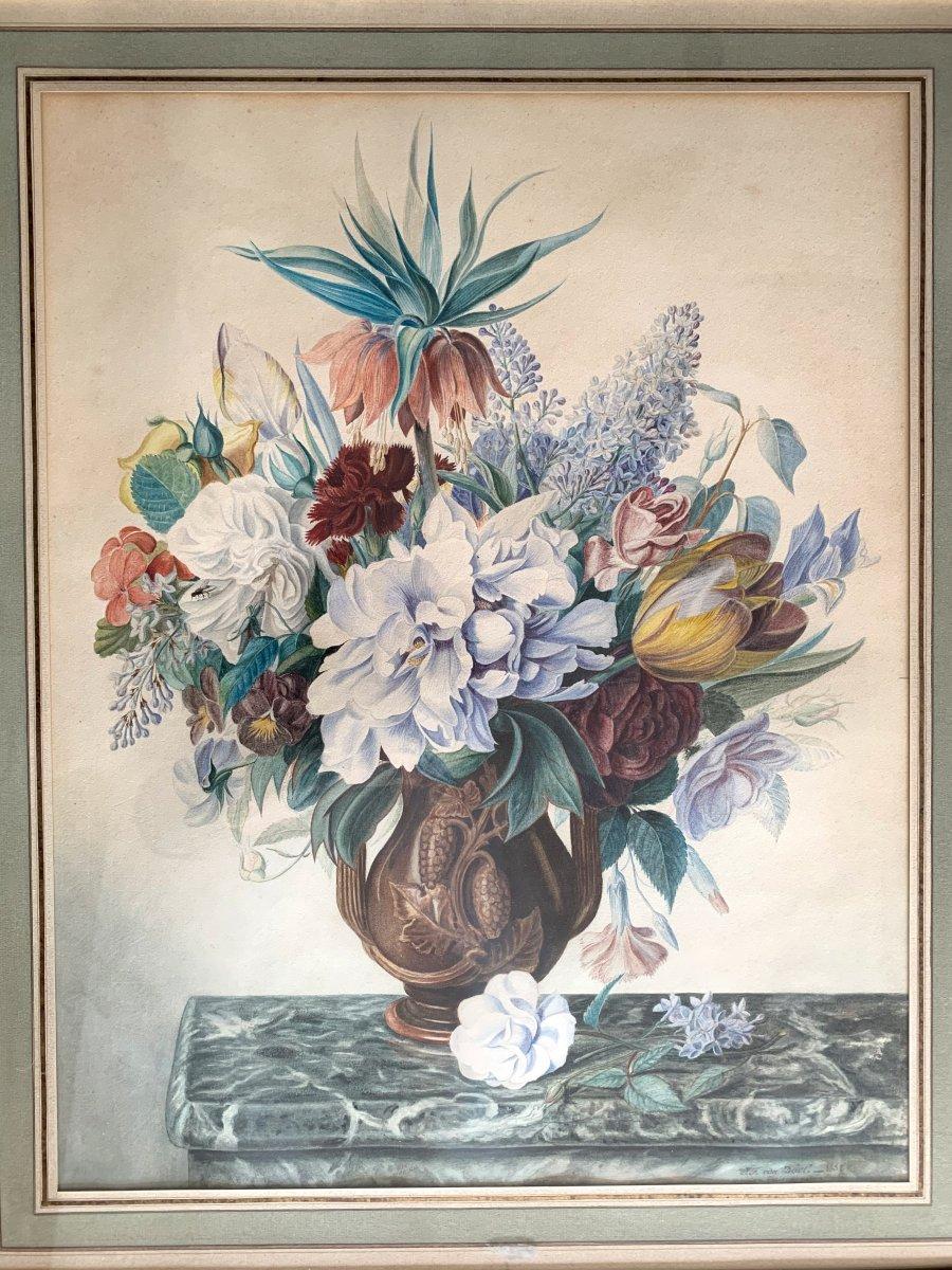 Jan Frans Van Dael (1764-1840) Très Grande Aquarelle Et Gouache
