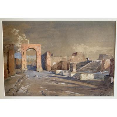 Giacinto  GIGANTE  (1806-1876) Italie - Naples - Pompei  -  Enorme côte