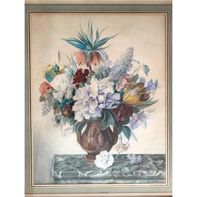 Jan Frans Van Dael (1764-1840) Very Large Watercolor And Gouache