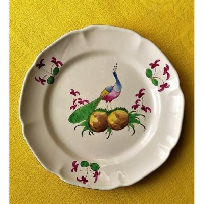 Assiette à Décor De Paon Originaire Des Islettes