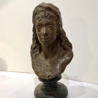 Sculpture Buste De Femme En Terre Cuite D'arthur Strasser 1854-1927