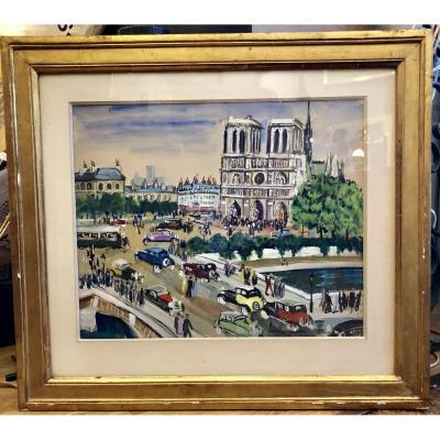 Gouache De Lucien Genin 1894-1953 French Painter