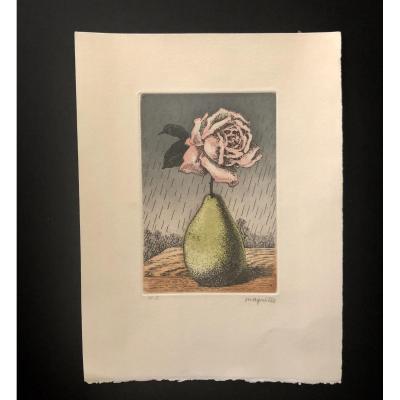 Eau-forte Magritte «Poire Et Pomme» 1969