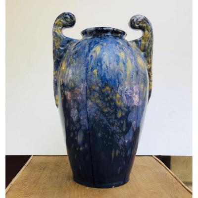 Grand Vase En Faïence D' Auguste Labaume (1876-1917)