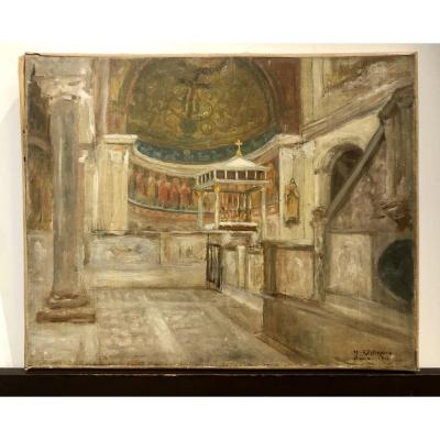 Oil On Canvas By The Painter Henri D 'estienne Representing A Church Interior In Rome In 1901