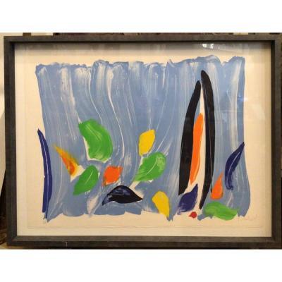 Lithographie Paysage Bleu - Olivier Debré