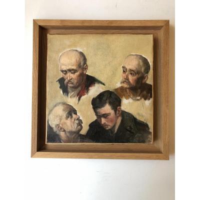 Portraits D'hommes - Huile Sur Toile