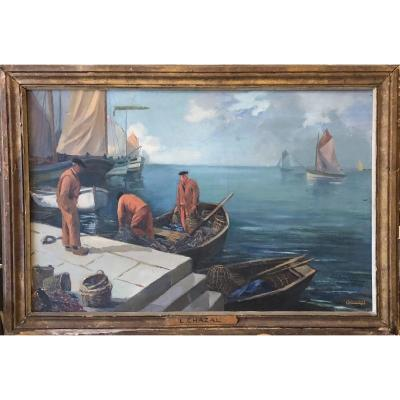 Oil On Canvas - Return From Fishing - Louis Chazal 20th