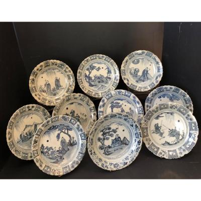 10 Chinese Hand Painted 19th Century Earthenware Plates
