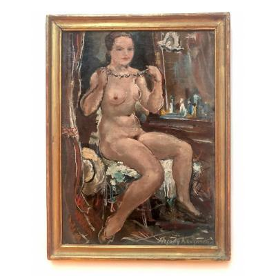 """Oil On Panel Of Arcadia Kouzmine French School 20th """"naked Au Collier"""""""