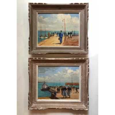 Paire d'huile du peintre Gabriel Deschamps (1919-?)représentant Le Port Maria à Quiberon.