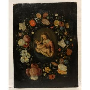 """Oil On Copper 18th Religious Painting  """"the Virgin And Child In A Crown Of Flowers"""