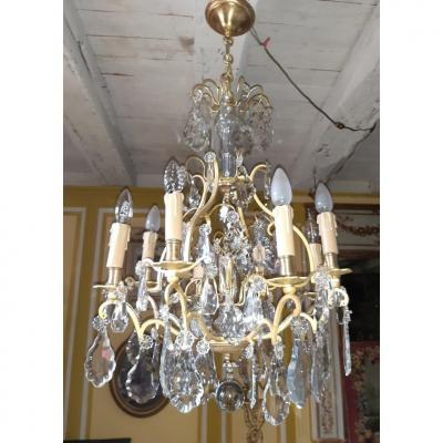 Cage Chandelier In Gilt Bronze And Crystal