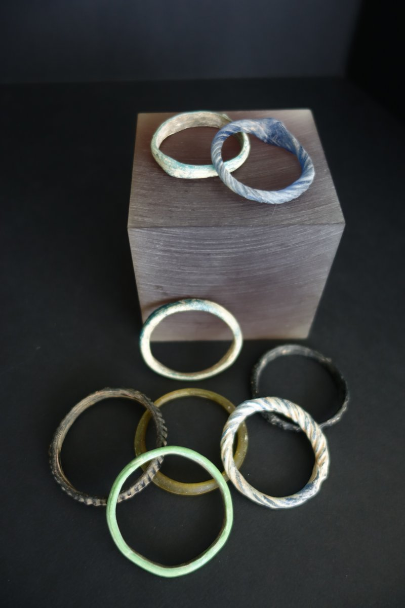 Eight Glass And Glass Paste Bracelets VIIIth-ixth Centuries