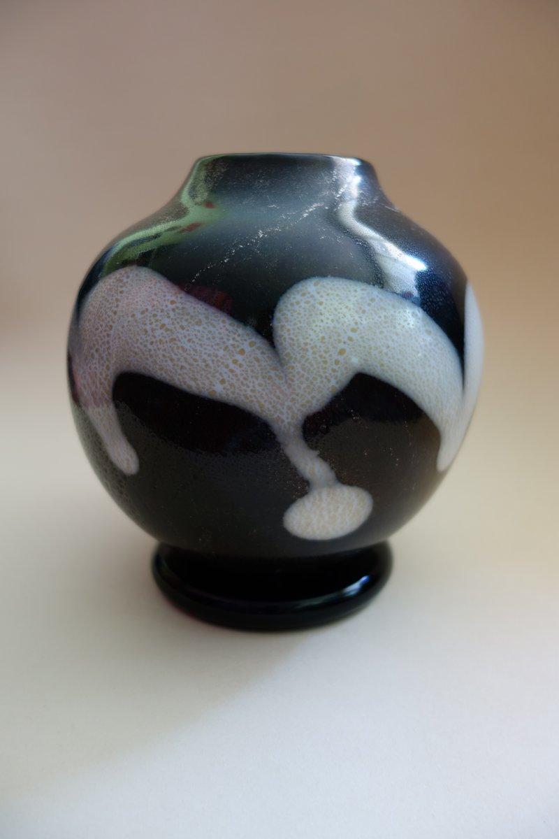 Vase Globulaire En Verre, Atelier Kamei Glass Osaka, Japon Période Showa