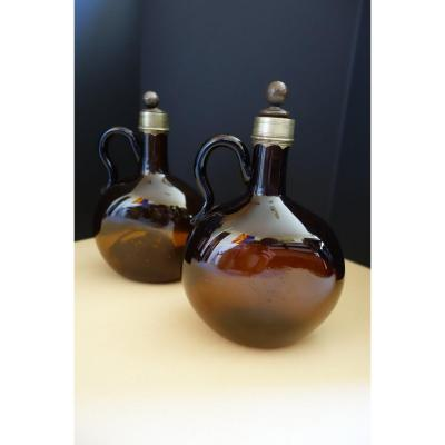 Pair Of Bottles Brandy Or