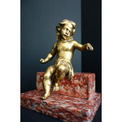 Gilt Bronze Putto Eighteenth On Terrace Marble