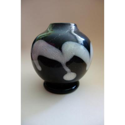 Glass Globular Vase, Atelier Kamei Glass Osaka, Japan Period Showa