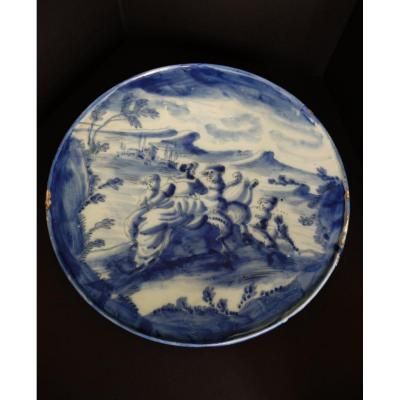 Savona Earthenware Tray Signed At The Lantern, 17th
