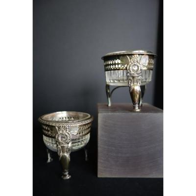 Pair Of Salerons Restoration Period, Sterling Silver, Mo Nicolas Xavier Goulain, Paris