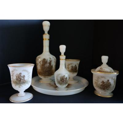 Water Service In White Crystal Opaline, Napoleon III Period