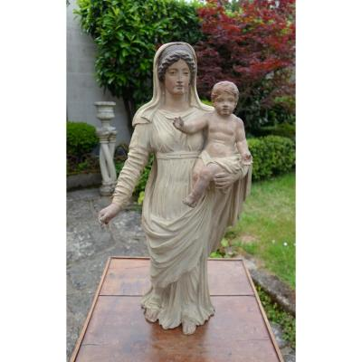 Madonna And Child In Polychrome Wood In Neoclassical Style, Directoire Period