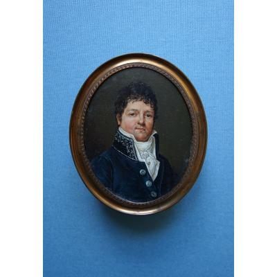 Miniature Portrait Of René Marie Jollivet, Member Of Parliament For Morbihan From 1815 To 1820