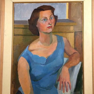 Femme à La Robe Bleue Circa 1950