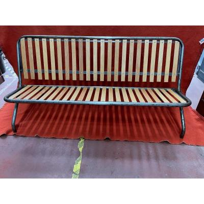 Superb 1950s Industrial Style Folding Bench.