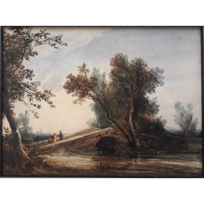 Jules Coignet (1798 1860 ) Aquarelle Paysage Pecheur Sur Un Pont