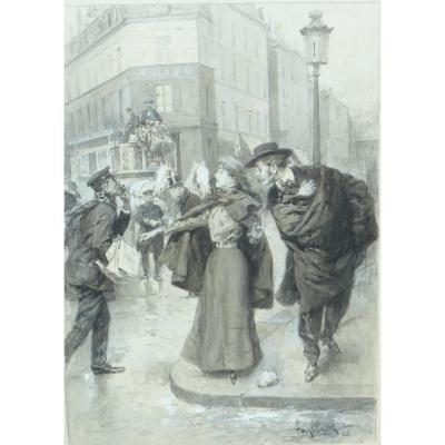 Scene Parisienne Ludovico Marchetti lavis d'encre