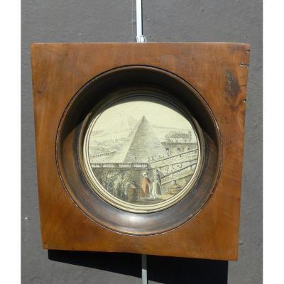 Miniature Monogrammée  H.r Hubert Robert 1733-1808 pyramide dans un parc caprice architectural