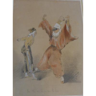 Gouache Scène Burlesque Arlequin