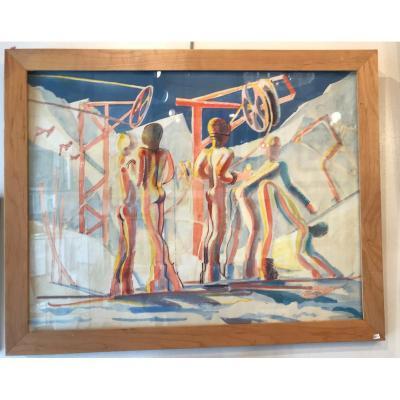 """""""les skieurs """" 1976 Philippe Derome"""