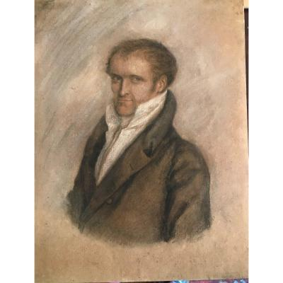 Pastel Portrait Entourage Of Ll Boilly Frame Wood Carving