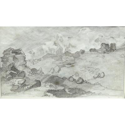 Jules Jacques Veyrassat Dessin Montagne