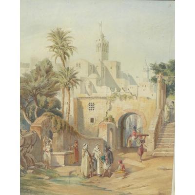 Aquarelle Orientaliste Emile Marquette Afrique Du Nord