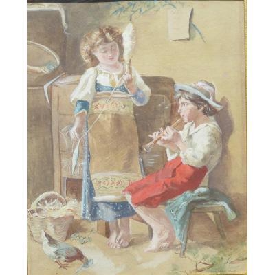 Aquarelle XIX Iem Napolitaine Enfants Musiciens