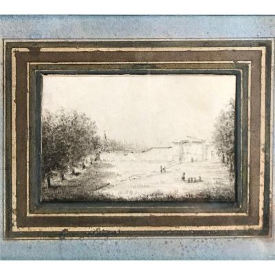 Miniature Drawing Landscape 18 Iem Montage Old