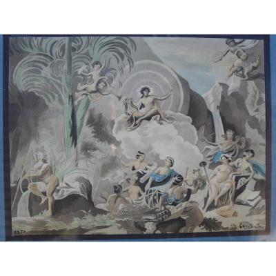 Aquarelle  Apollon Et Ses Muses XIX Iem  1850 signée