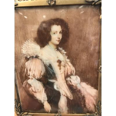 Miniature Painting On Ivory 19 Eme / Portrait Van Dick Louise Marie De Tassis