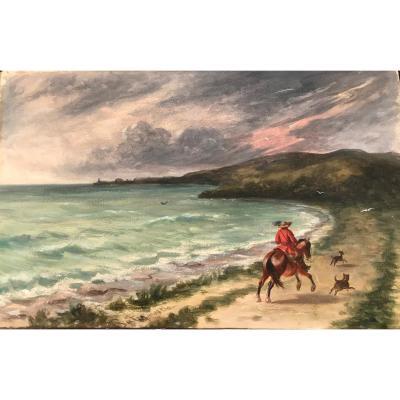 Aquarelle  Louis PATERNOSTRE (1824-1879) Cavalier au galop accompagné de ses chiens
