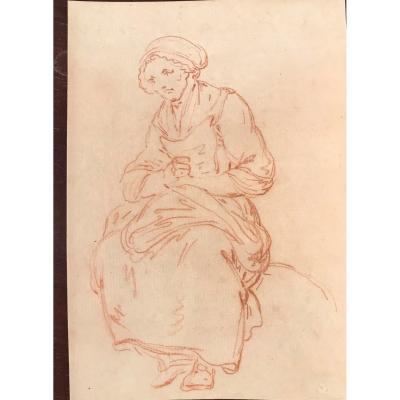 Sanguine Vielle Femme Dans Le Gout De Greuze  18 iem filigrane