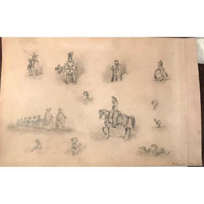 Dessin Caricature Militaire legion d honneur boxeur  1830 signature